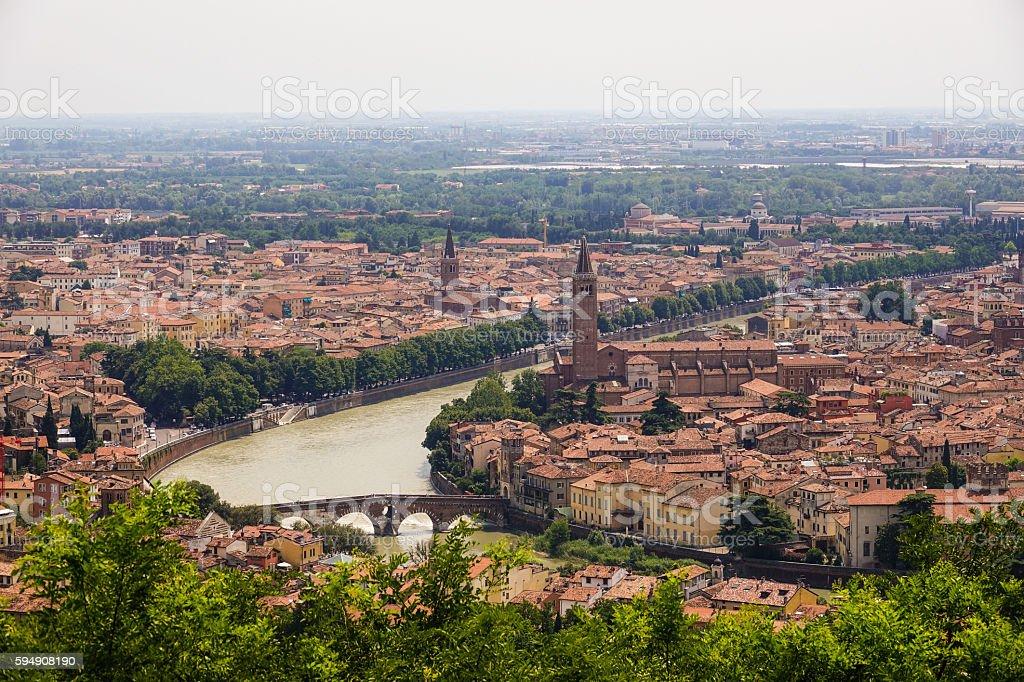 Amazing aerial view over the city of Verona Lizenzfreies stock-foto