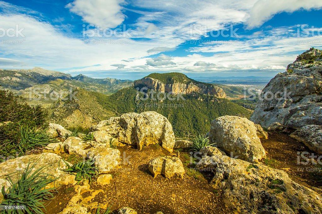 Amazing Alaro panoramic view Palma de Mallorca Majorca Mountains stock photo