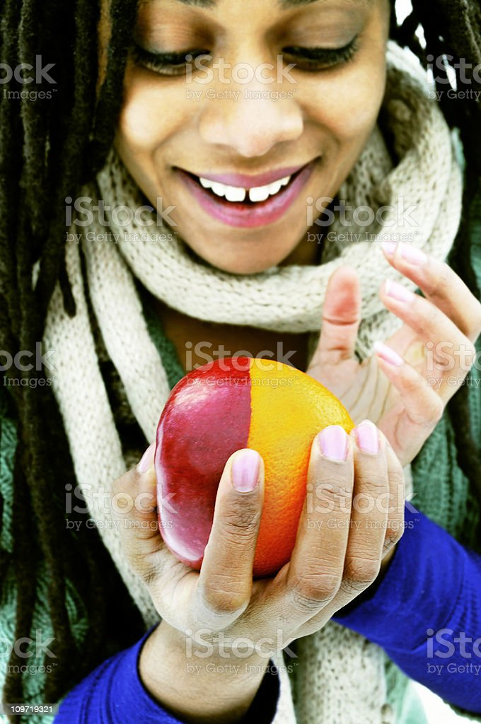 Amazing Apples and Oranges as One (High Contrast, Xpro) royalty-free stock photo