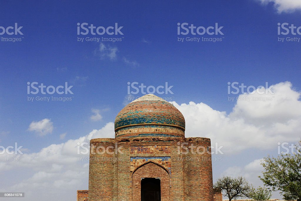 Amazing Architecture. Ancient tomb in Makli hill, Blue Sky stock photo