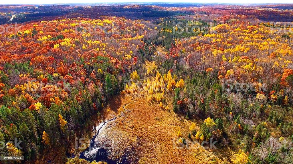 Amazing Autumn Aerial Landscape on Michigan's Upper Peninsula. stock photo