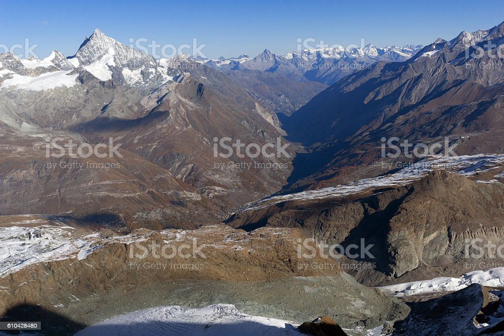 Amazing Autumn landscape of Swiss Alps and Zermatt stock photo