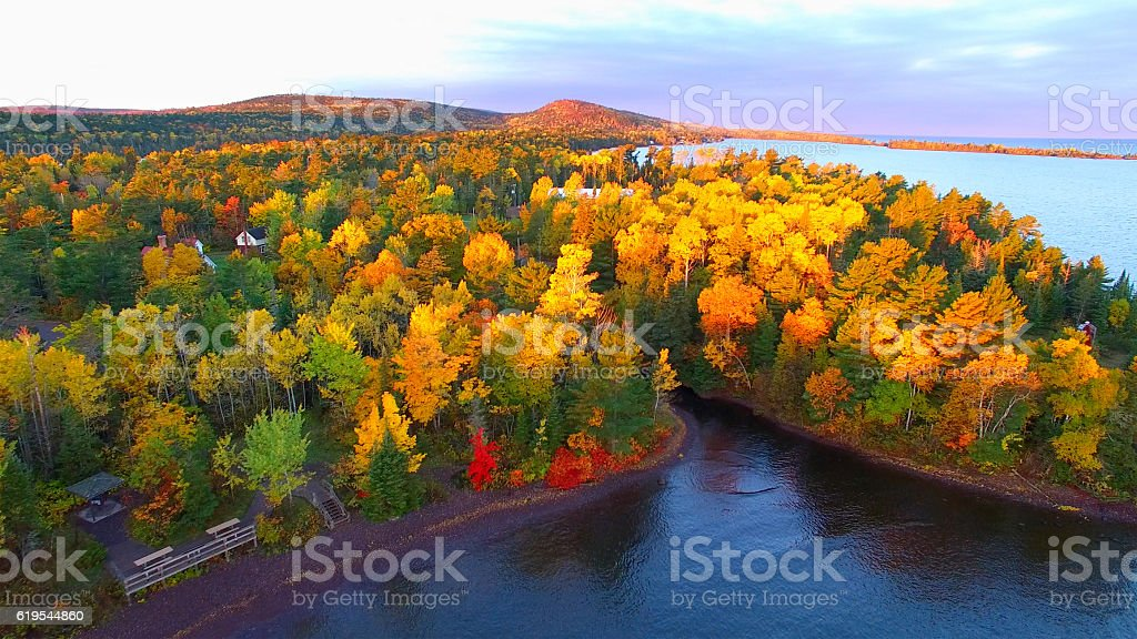 Amazing Autumn scenery, forests with lake, Fall colors, Aerial view. stock photo