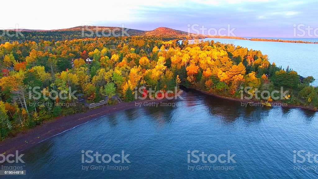 Amazing Autumn scenery, forests with lake, Fall colors, Aerial view stock photo