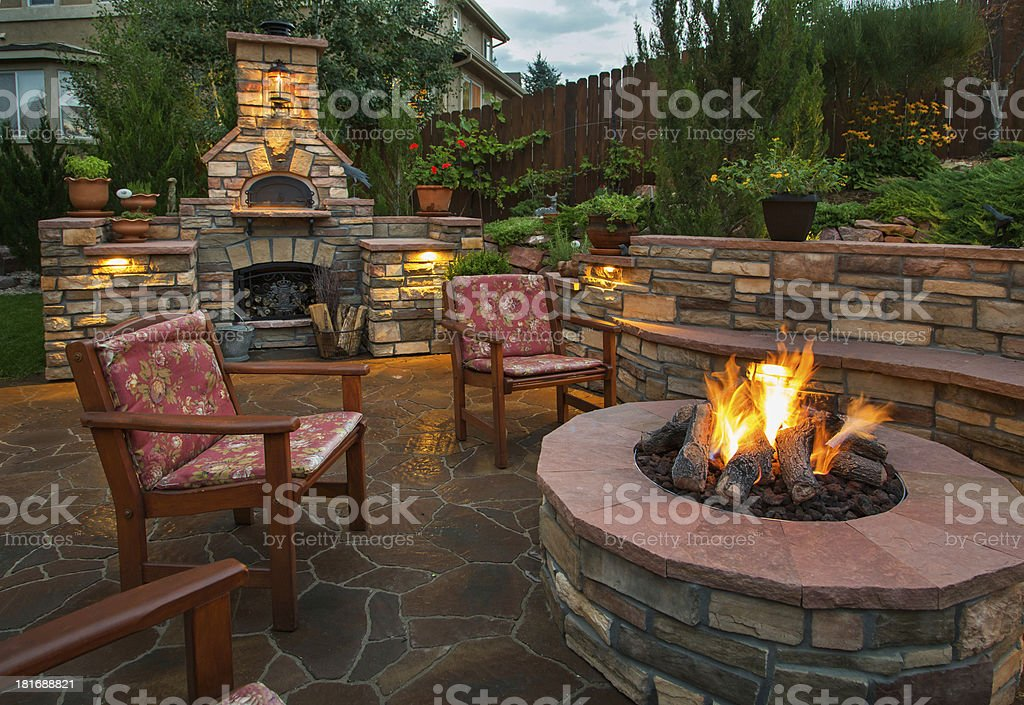 amazing backyard with pizza oven and fire pit stock photo