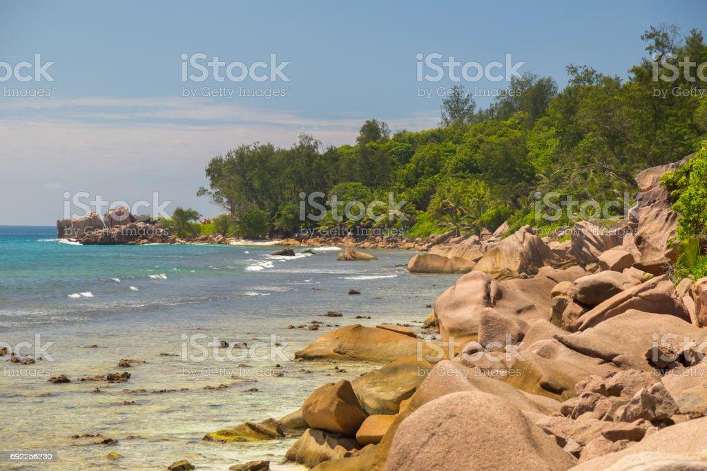 Amazing beach on Seychelles stock photo