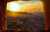 Amazing beautiful sunset from Uchisar  castle in  ancient Nevsehir