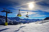 amazing beautiful view of Saint Moritz ski resort in Switzerland