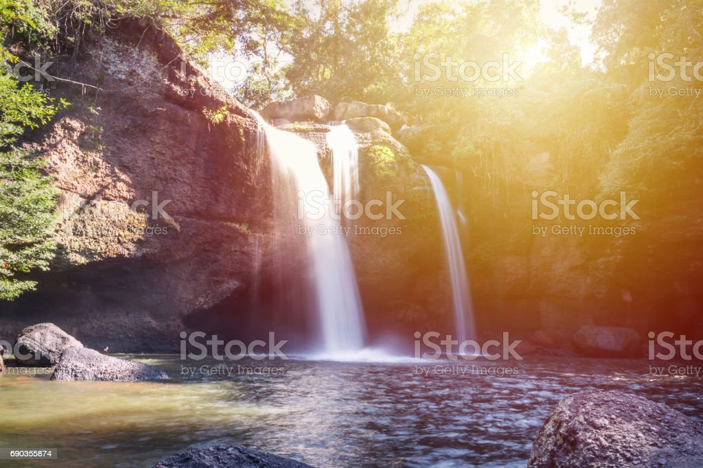 Amazing beautiful waterfalls in deep forest at Haew Suwat Waterfall in Khao Yai National Park, Thailand stock photo