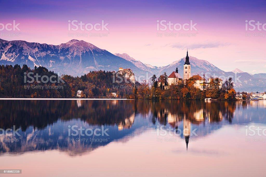 Amazing Bled Lake on sunset, Slovenia, Europe stock photo
