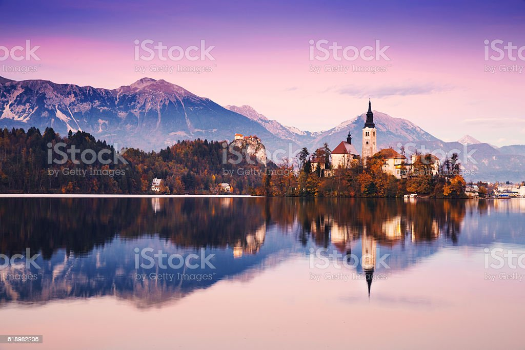 Amazing Bled Lake on sunset, Slovenia, Europe stock photo