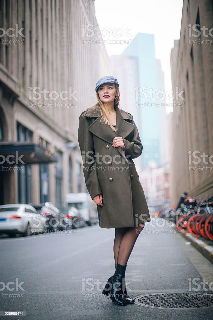 Amazing blonde lady stock photo