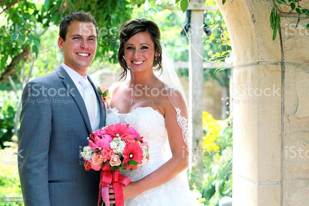 Amazing Bride and Groom Happy Wedding Dress stock photo