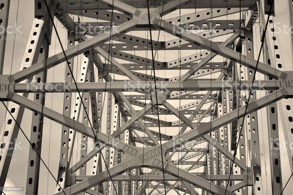 amazing bridge over the Panama Canal, monochrome, engineering, stock photo
