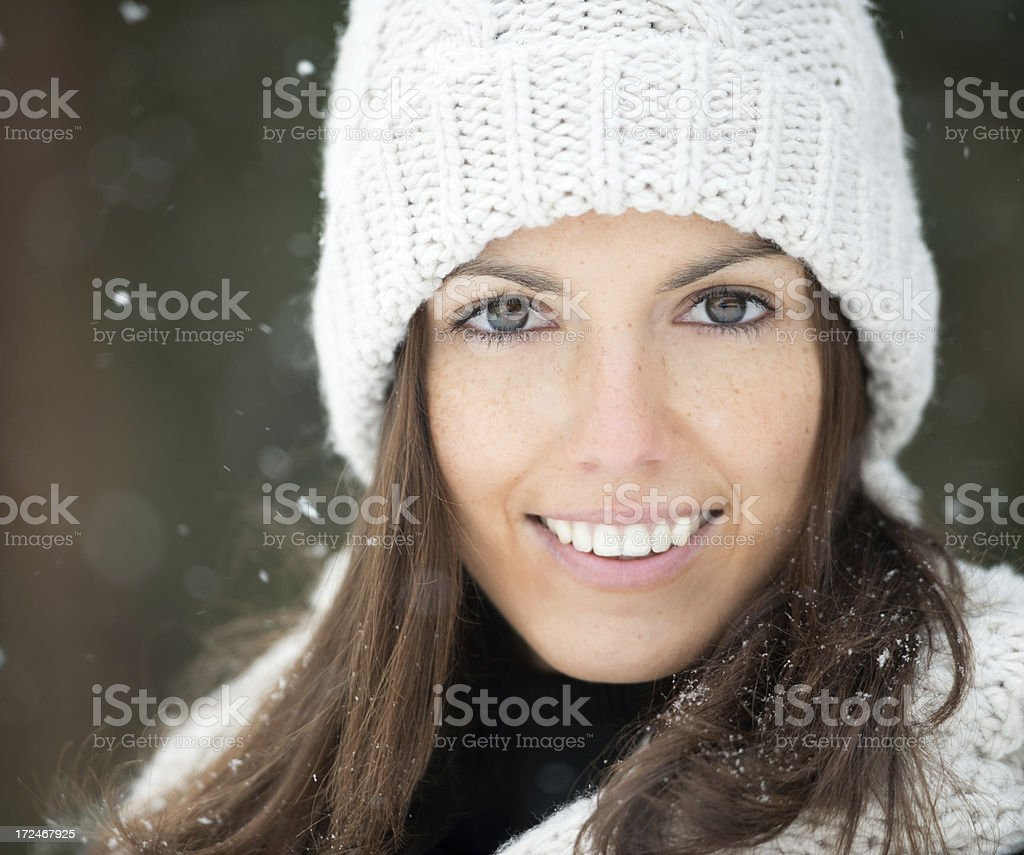 Amazing Brunette Woman standing in the Snow royalty-free stock photo