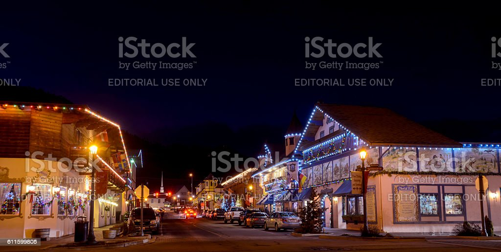 Amazing Christmas Lighting wonderland in Leavenworth ,WA USA . stock photo