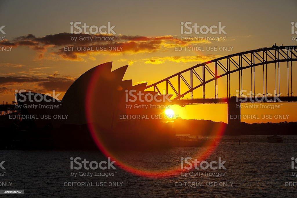 Amazing Circular Rainbow Forms Over Sydney Opera House royalty-free stock photo