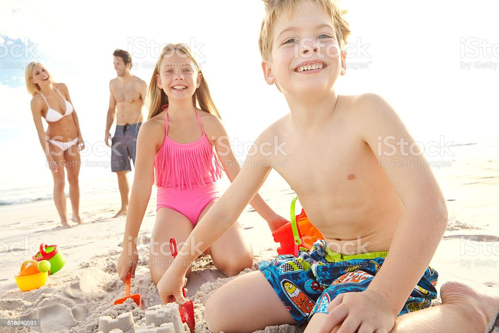 Amazing day at the beach with the family stock photo