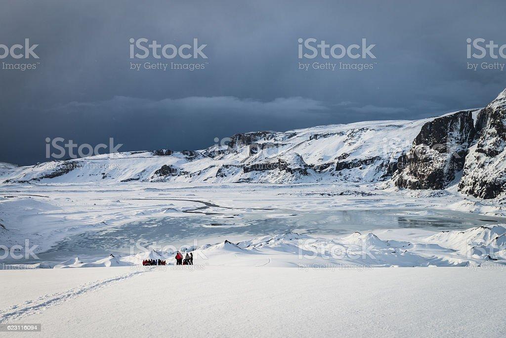 Amazing Eyjafjallajokull glacier in Iceland during winter stock photo