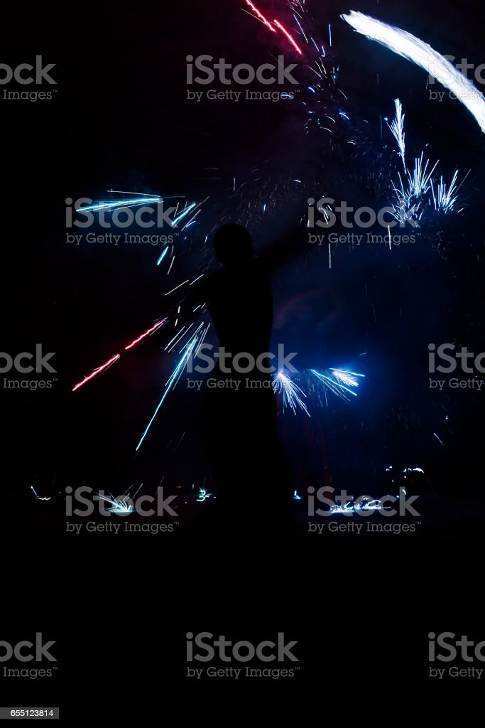 Amazing Fire Show at night stock photo