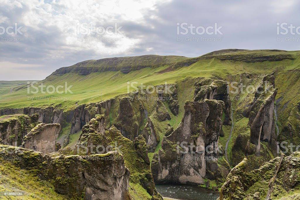 Amazing Fjadrargljufur canyon. Southern Iceland stock photo