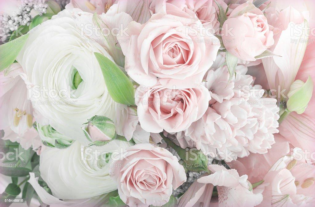 Amazing flower bouquet arrangement close up stock photo