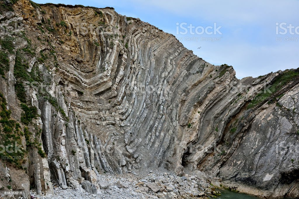 Amazing geology of Stair Hole on the Jurassic Coast stock photo