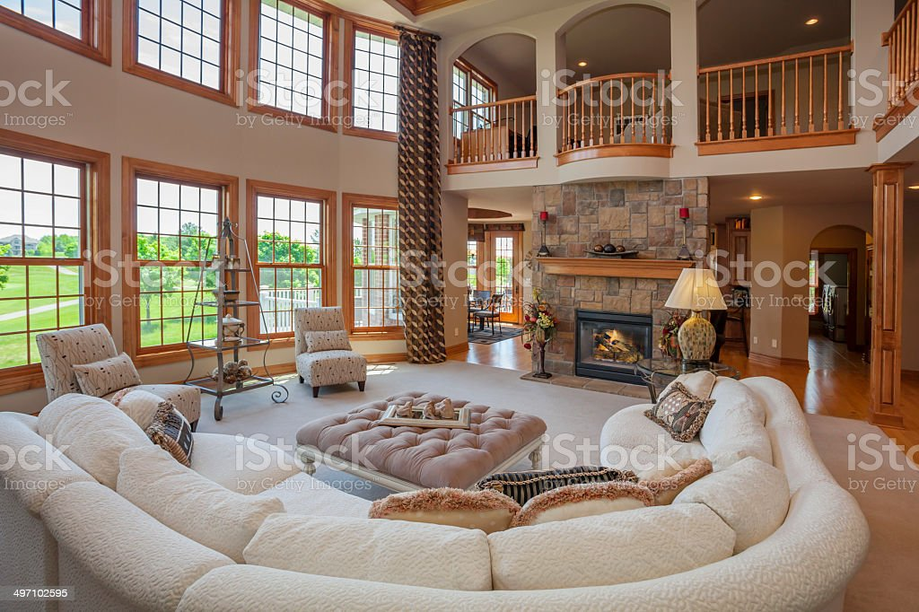Amazing Great Room With Second story Balcony stock photo