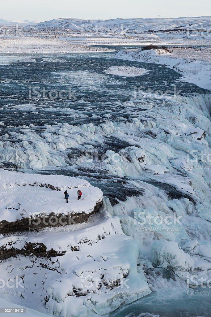 Amazing Gullfoss waterfall in winter stock photo