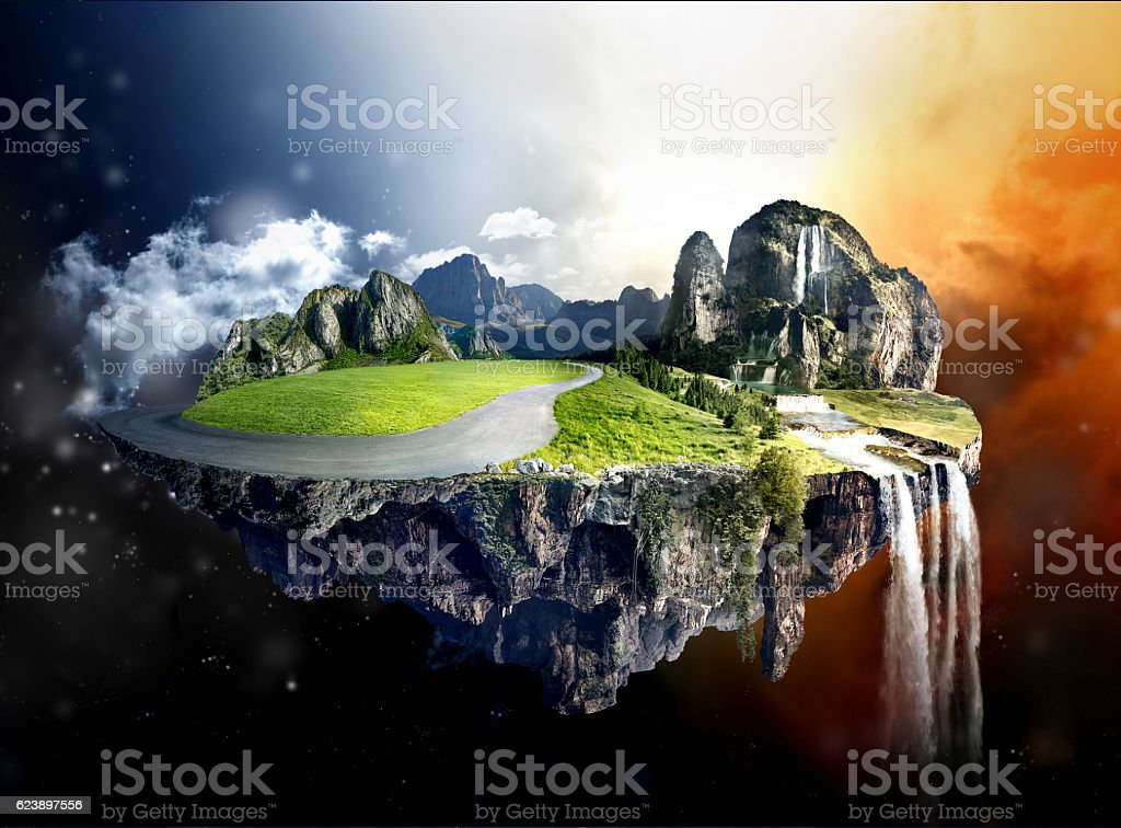 Amazing island with grove floating in the air stock photo