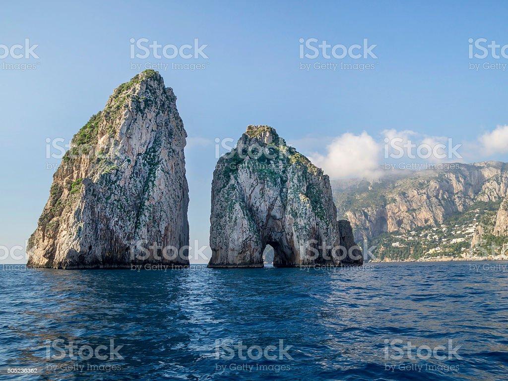 Amazing landscape at Capri Island with Faraglioni stock photo