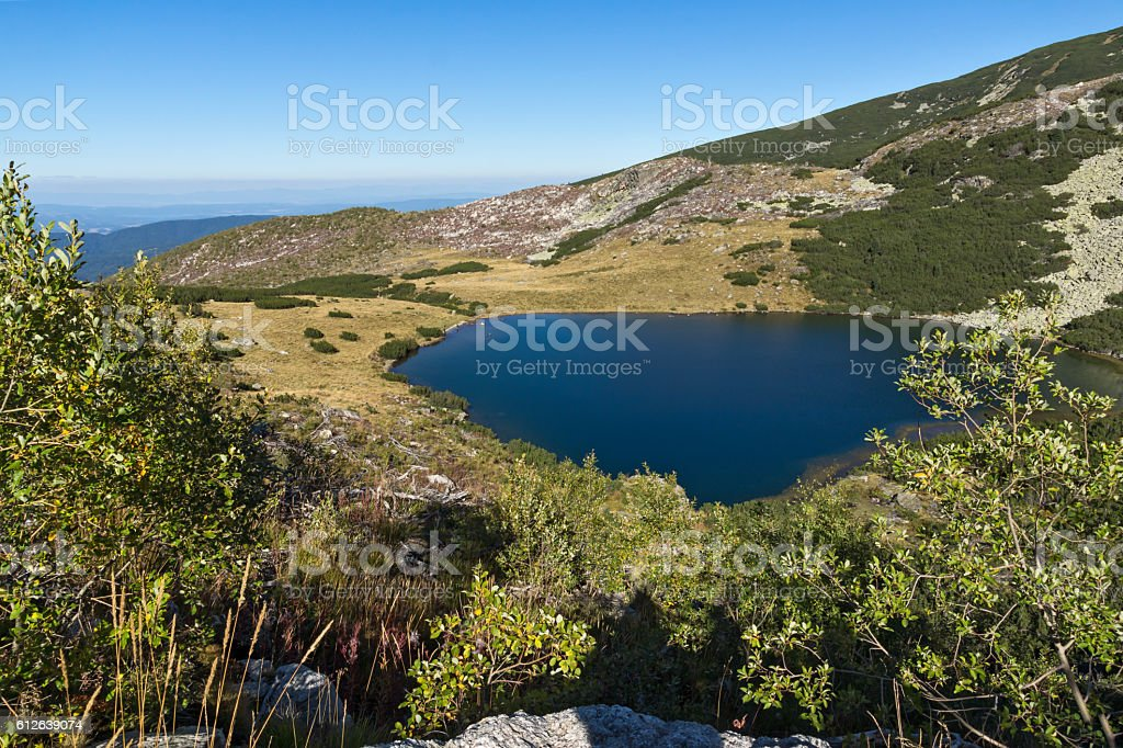 Amazing Landscape of Yonchevo lake, Rila Mountain stock photo