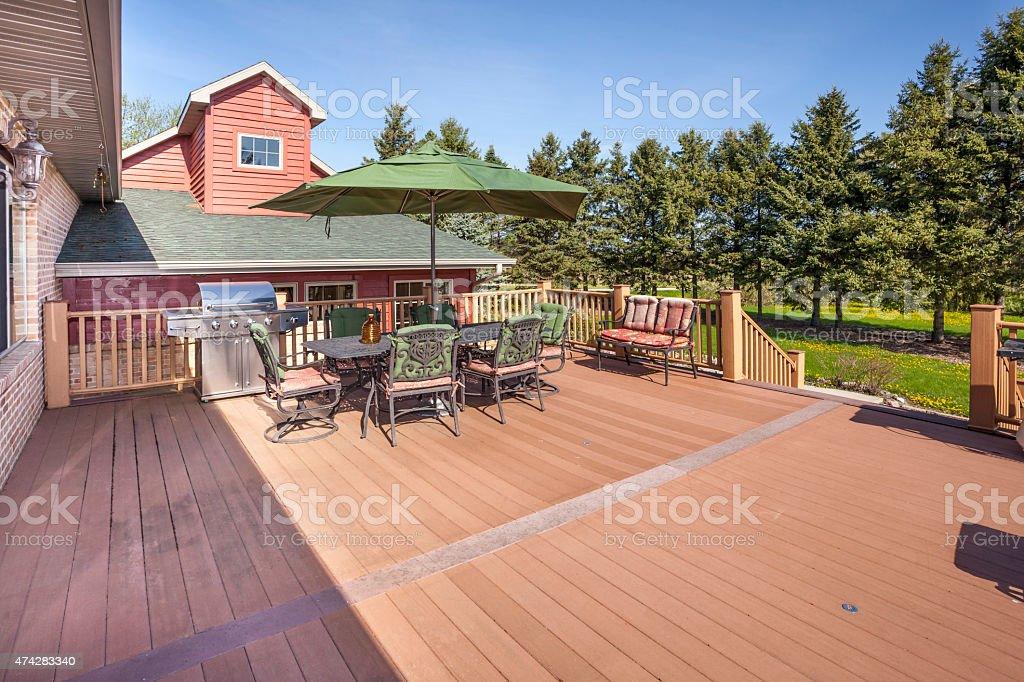 Amazing Large Back Yard Deck, Rural Setting stock photo