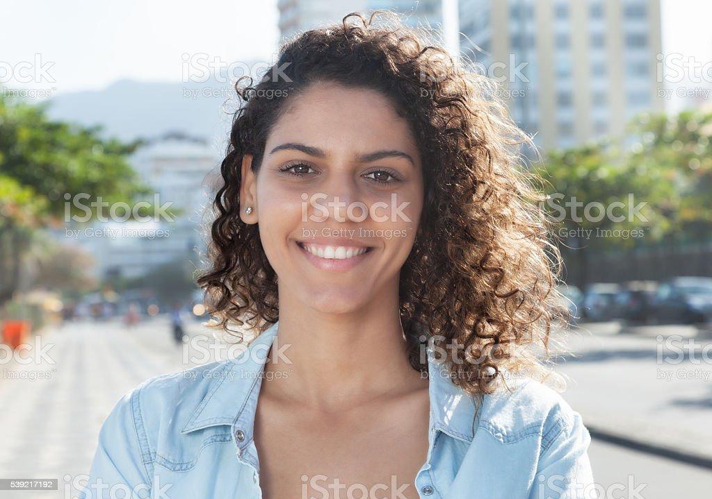 Amazing latin woman in the city stock photo