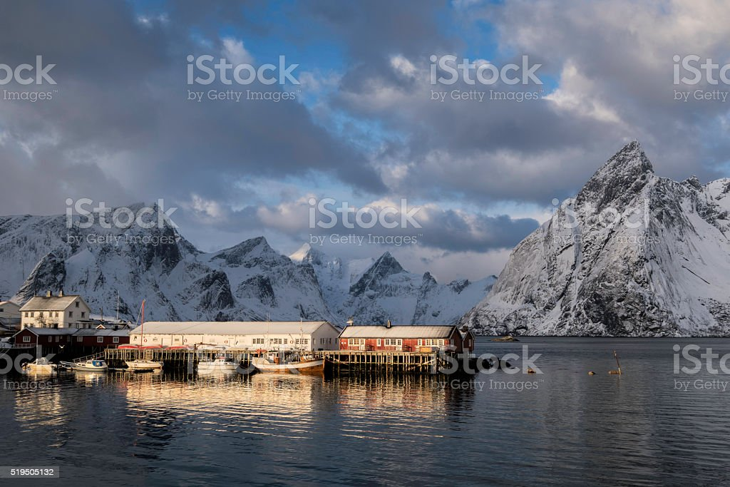 Amazing Light at Hamnoy in Winter stock photo