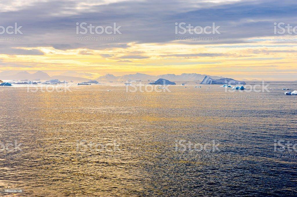 Amazing light effect in Antarctica stock photo
