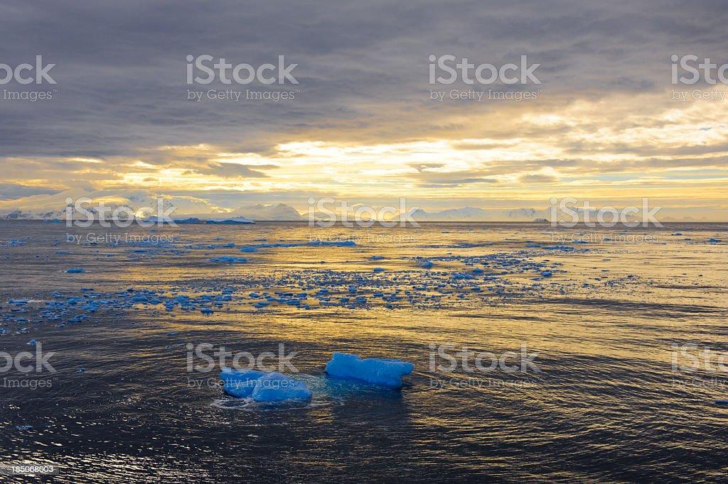 Amazing light effect in Cierva Cove, Antarctica stock photo
