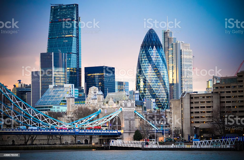 Amazing London skyline with Tower Bridge during sunset stock photo