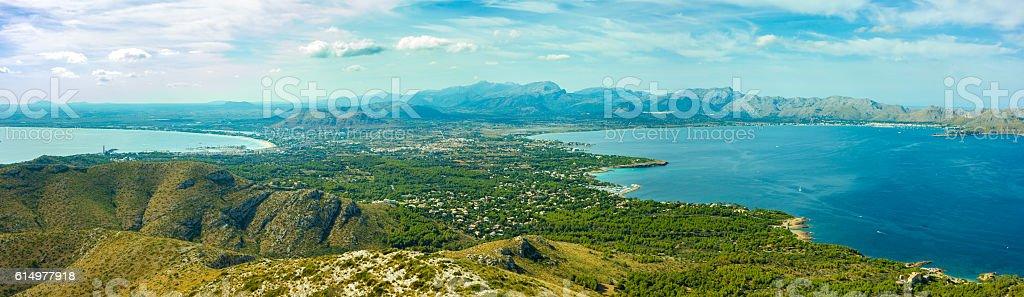 Amazing Mallorca Alcudia and Pollenca Bay Panorama stock photo