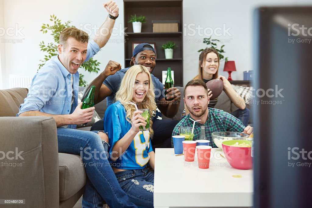 Amazing match on the television stock photo