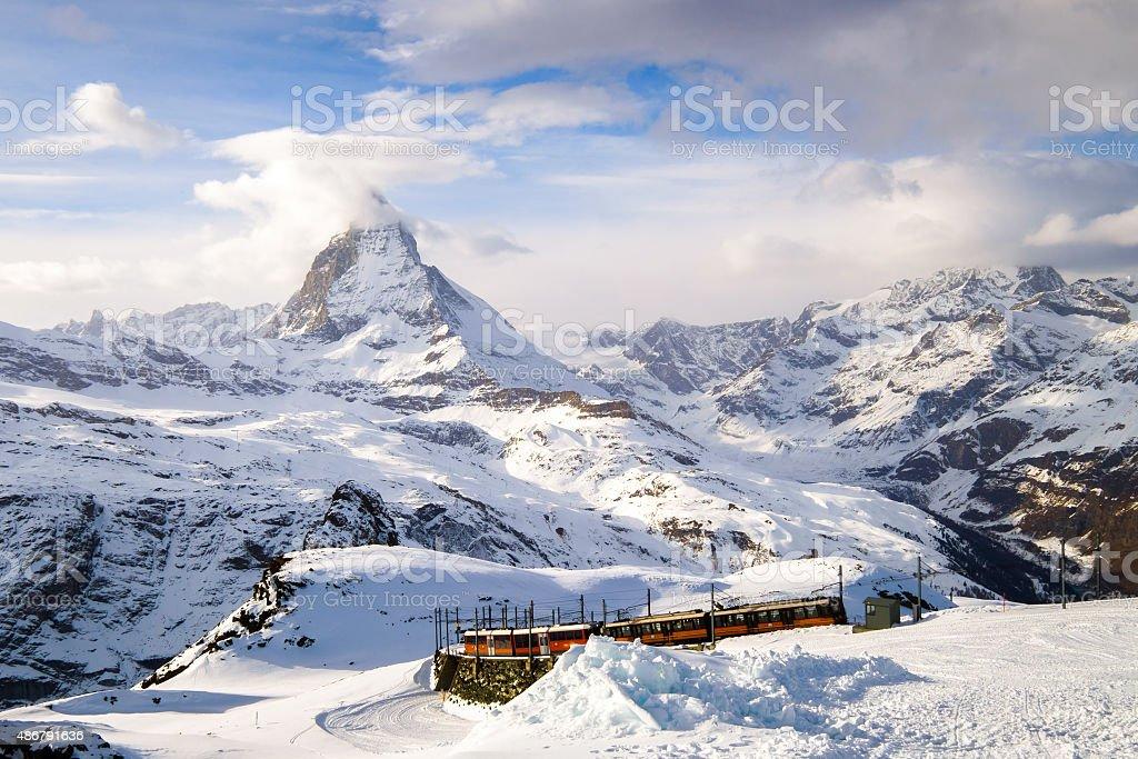 Amazing Matterhorn with Zermatt city, Switzerland stock photo