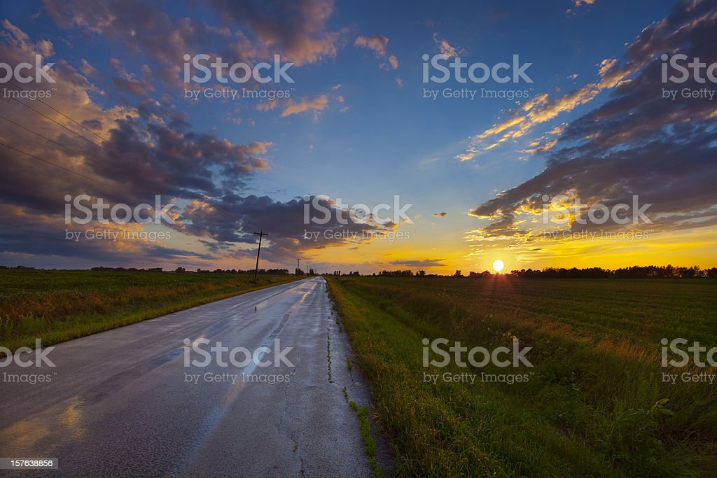 Amazing Midwest Rural Sunset After Heavy Rains stock photo