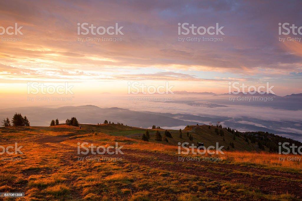 Amazing morning in Gerlitzen Apls in Austria. stock photo
