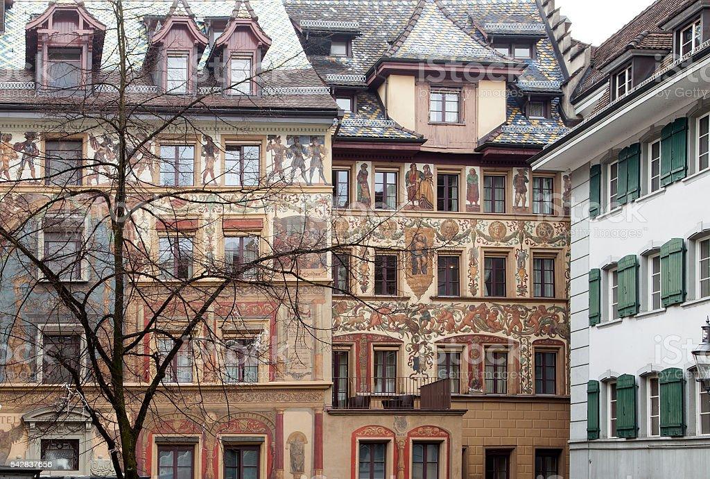 Amazing murals (wall paintings) downtown Luzern, Switzerland stock photo