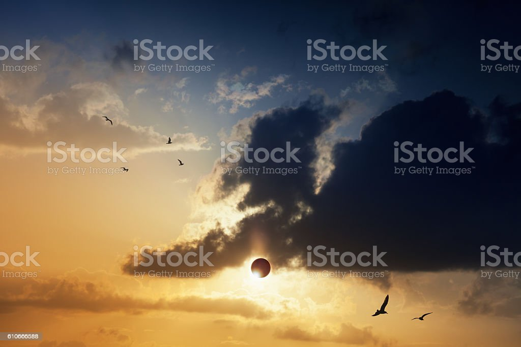 Amazing mysterious natural phenomenon - total solar eclipse stock photo