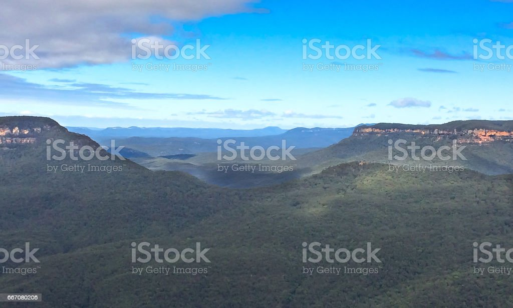 Amazing natural view of blue mountains stock photo