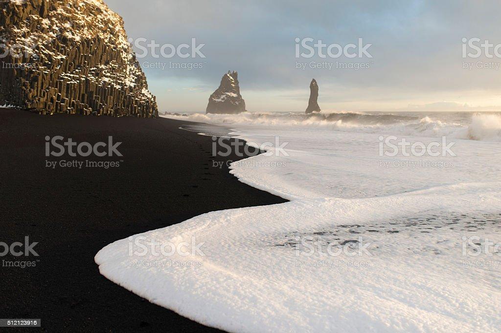 Amazing nature of Iceland. Black sand stock photo