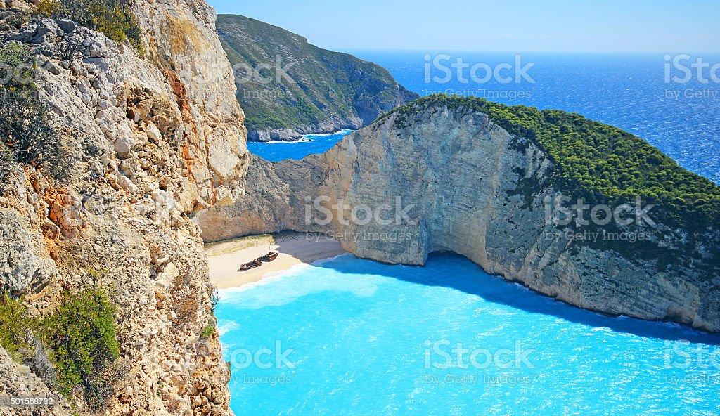 Amazing Navagio Beach ( shipwreck) in Zakynthos Island, Greece stock photo