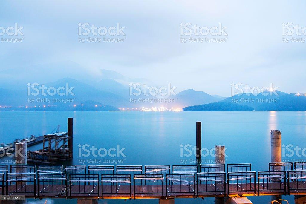 Amazing night view of Sun Moon lake stock photo