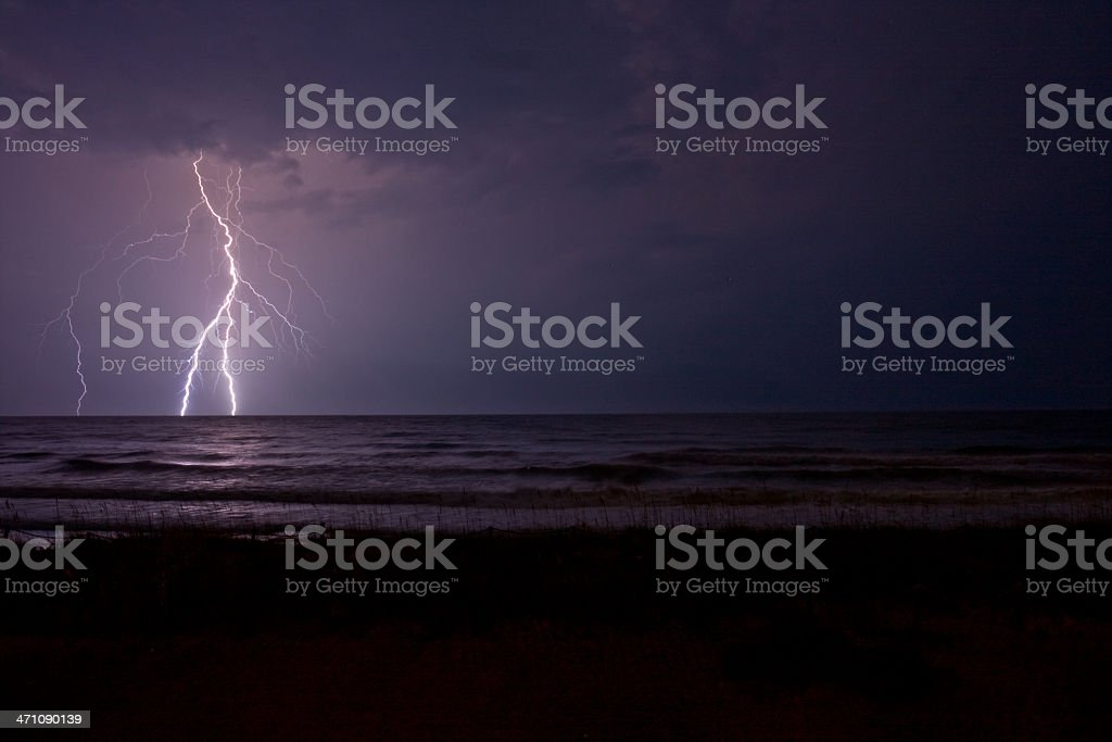 Amazing Ocean Lightning stock photo